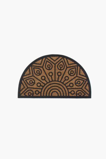 Coir And Rubber Half Moon Sunburst Door Mat, 45x75cm