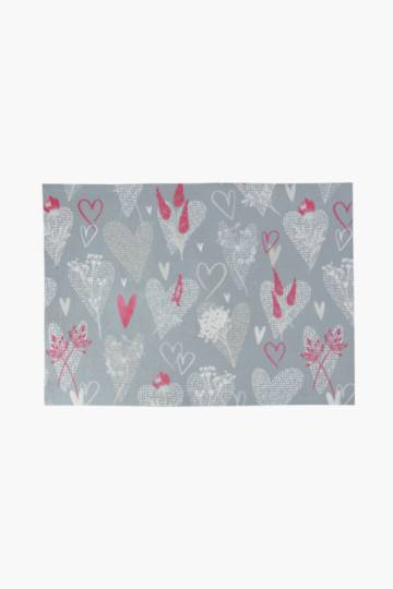 Hearts Printed Kitchen Mat, 60x90cm