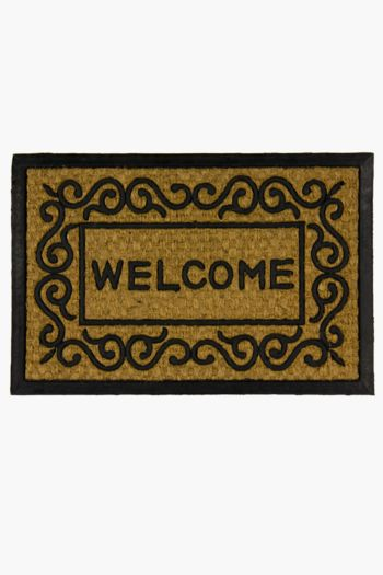 Coir And Rubber Welcome Door Mat, 40x60cm