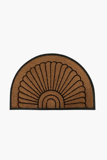 Cut Out Coir, Rubber Half Moon Door Mat, 60x90cm