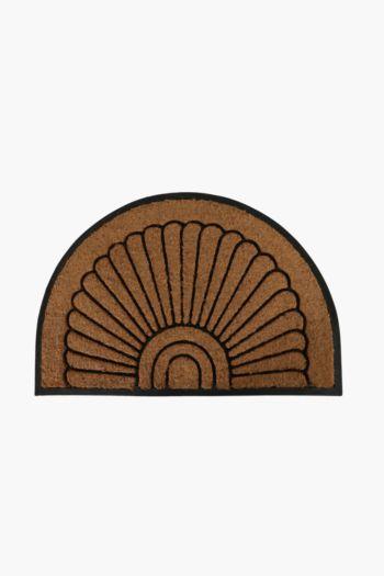 Cut Out Coir, Rubber Half Moon Door Mat, 60x90cm