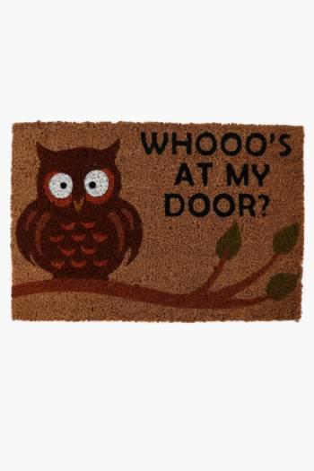 Coir Whoos At The Door, Door Mat, 40x60cm