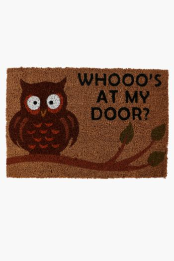Coir Whoos At The Door, Door Mat, 40x60cm