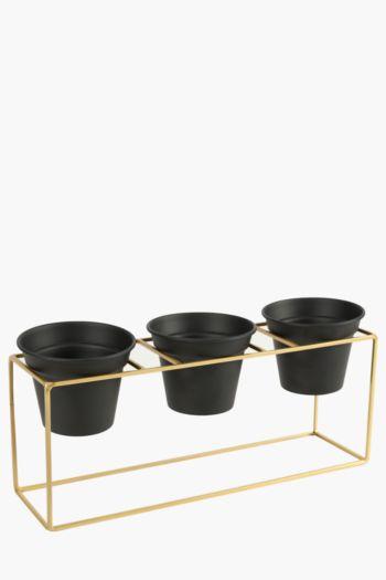 3 Ceramic Planters On Metal Stand