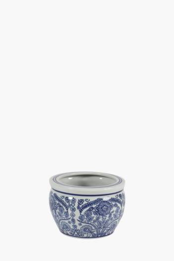 Delft Floral Ceramic Planter Small