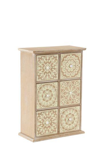 Wooden Morrocan 6 Tile Box Drawer