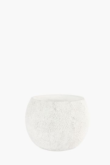 Round Floral Embossed Planter Medium