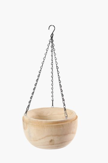 Raw Wood Hanging Planter