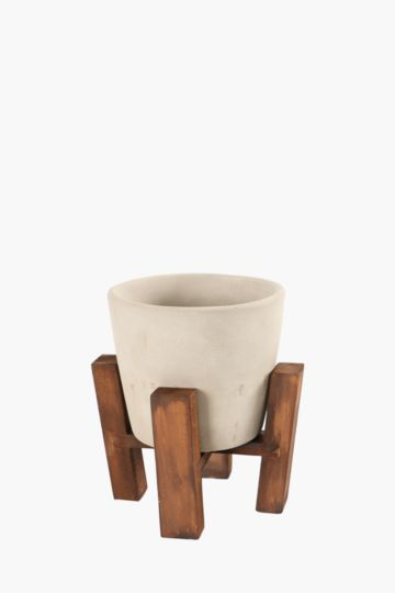 Cement Planter With Wooden Stand
