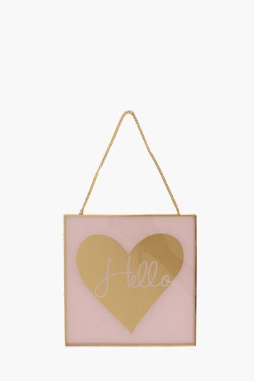 Hello Heart Hanging Plaque