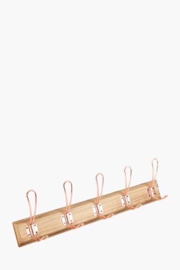 Vintage Wood 5 Wall Hooks