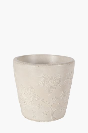 Floral Cement Planter Medium