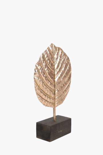 Metallic Decor Leaf On Stand Large