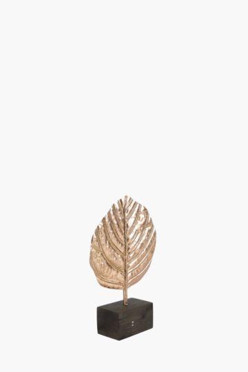 Metallic Decor Leaf On Stand
