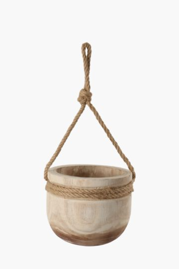 Wooden Hanging Planter Small