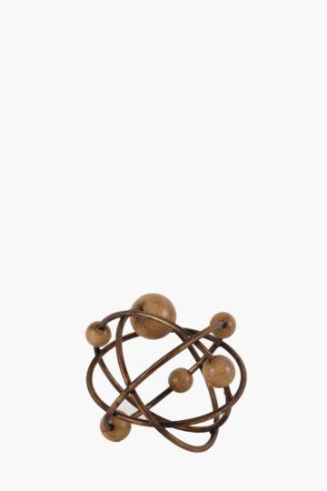 Wood and metal decor ball medium