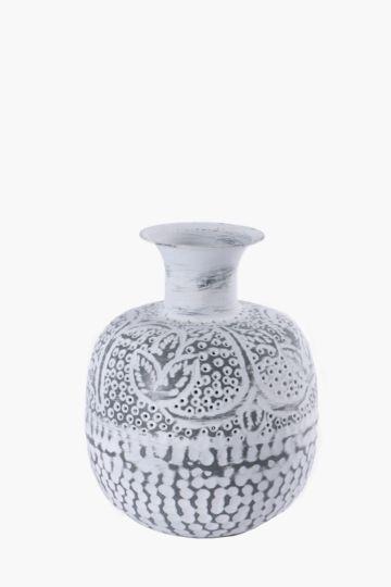 Pierced Metal Belly Vase