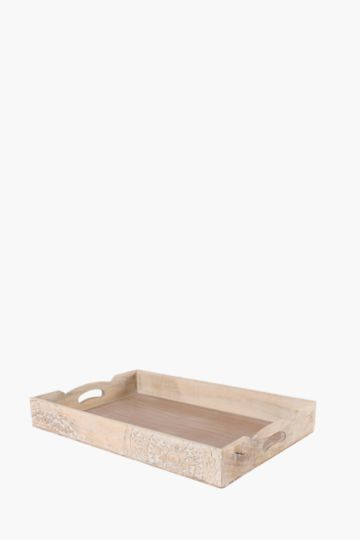Ditsy Carved Wood Tray, Large