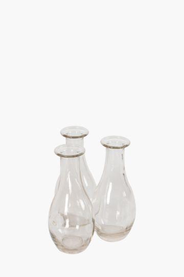 3 Glass Bottle Bud Vases