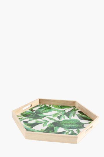 Tropical Hexagon Wooden Tray