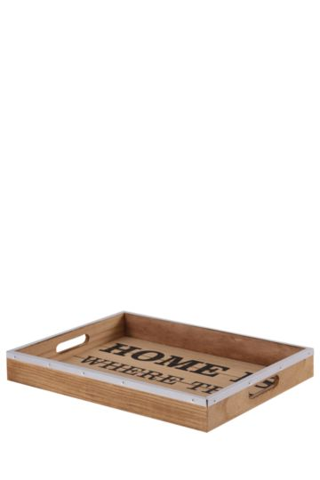 Home Is Where Script Wooden Tray
