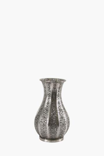 Floral Cut Metal Urn Small