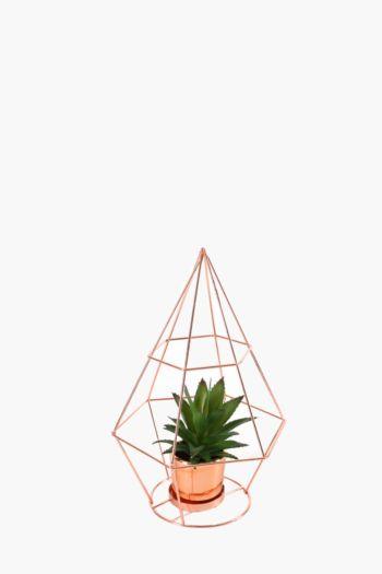 Mini Agave In Metallic Diamond Pot