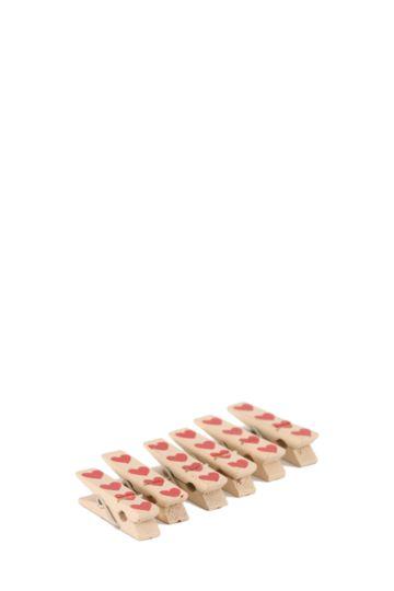 6 Heart Pattern Mini Pegs