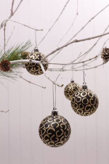 6 Hanging Leopard Print Bauble Pack