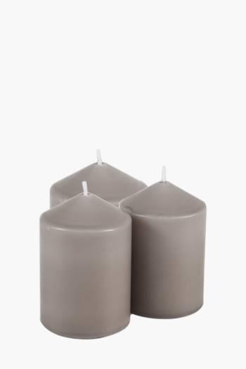 3 Unscented Pillar Candles 10cm