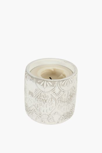 Carved Cement Waxfill Candle