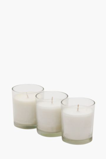 Pack Of 3 Glass Wax Fill Votives