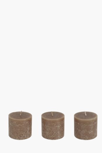 3 Fragranced Pillar Candles, 7x7,5cm