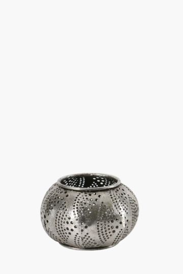 Moroccan Punched Metal Candle Holder Small