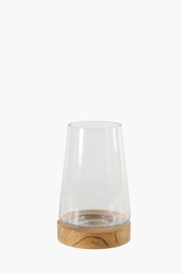Glass And Wood Tapered Hurricane