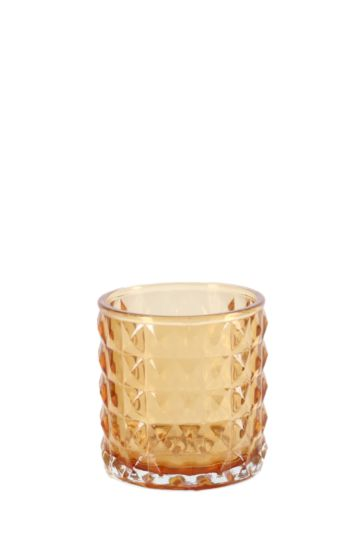 Embossed Glass Votive Candle Holder