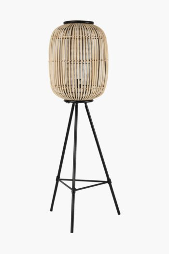 Metal And Bamboo Standing Lamp Set