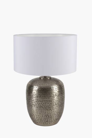 Beaten Metal Table Lamp Set