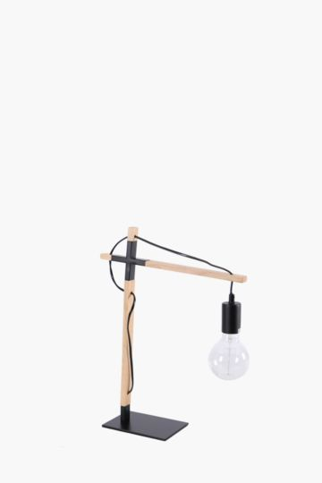 Wire And Wood Drop Lamp Set