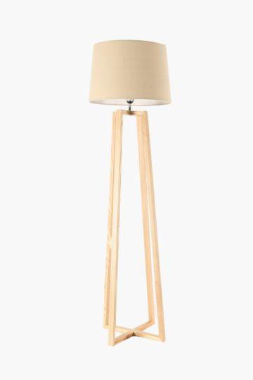 Wooden Base Standing Lamp Set