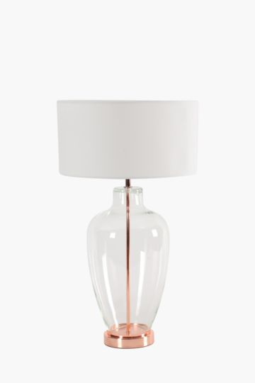 Glass Base With Metal Rod Lamp Set
