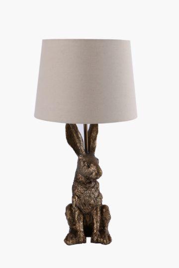 Brass Bunny Lamp Set