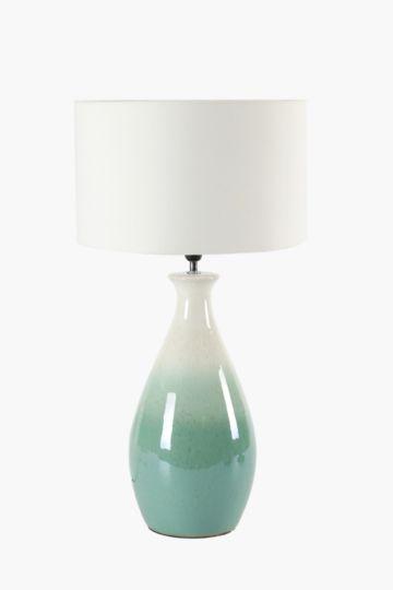 Glazed round base table lamp set