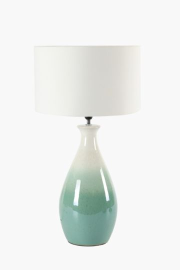 Glazed round base table lamp set