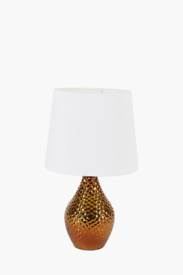 Beaten brass lamp set