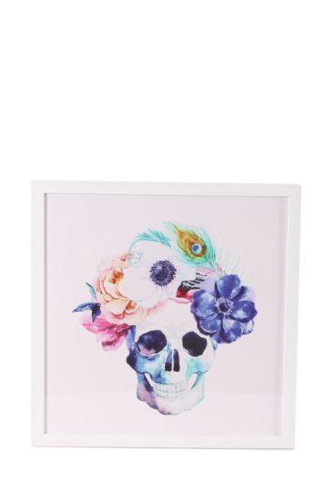 Framed Party Skull 40x40cm Wall Art