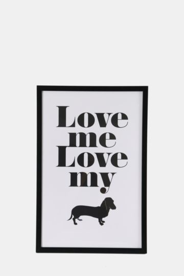 Framed Love My Dog 40x60cm Wall Art