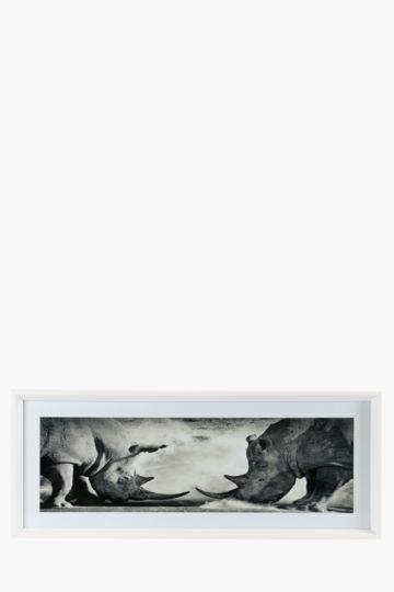 Framed Rhino 100x40cm Wall Canvas