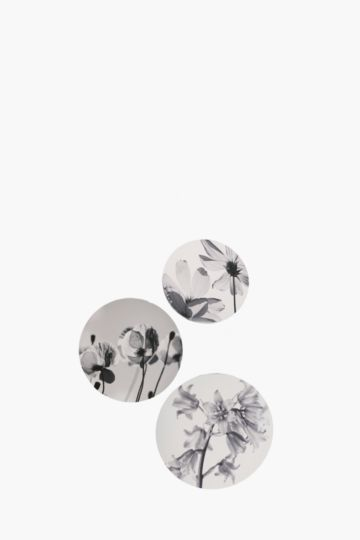 Set Of 3 Abstract Flowers Wall Art