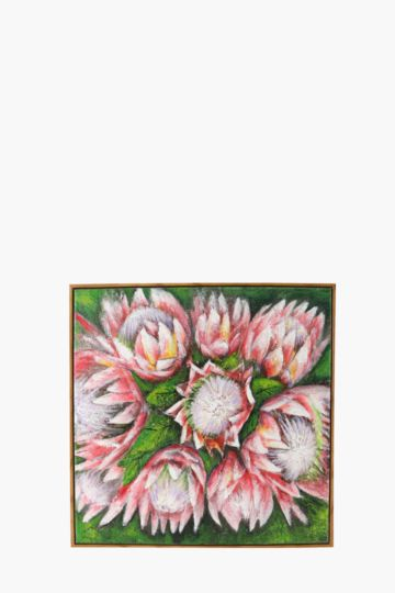 100% Hand Painted Proteas 60x60cm Wall Canvas